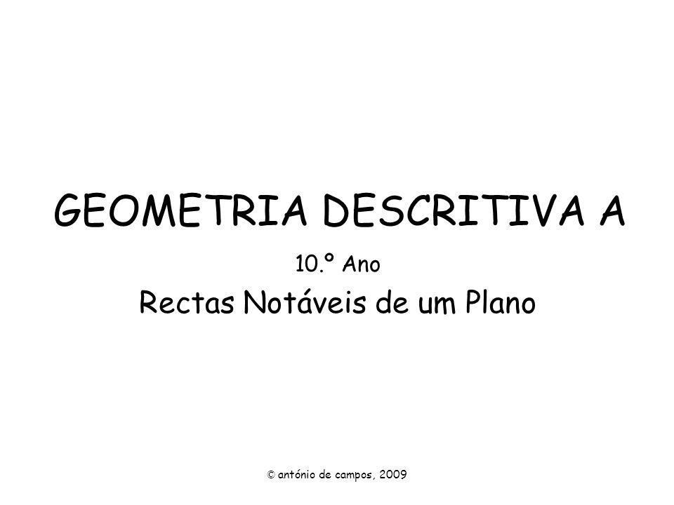 GEOMETRIA DESCRITIVA A 10.º Ano Rectas Notáveis de um Plano © antónio de campos, 2009