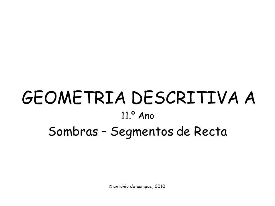 SOMBRA DE UM SEGMENTO DE RECTA NO PLANO HORIZONTAL DE PROJECÇÃO Pretende-se a sombra projectada do segmento de recta [AB] no Plano Horizontal de Projecção.