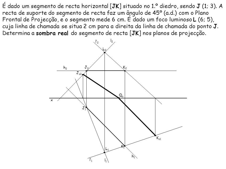 É dado um segmento de recta de perfil [AB], sendo A (0; 2; 4) e B (4; 3).