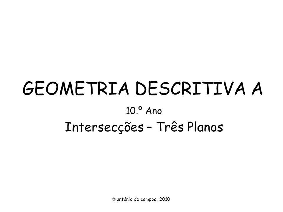 INTERSECÇÃO DE TRÊS PLANOS O estudo que se segue trata de planos com uma intersecção própria, seja um ponto próprio ou uma recta própria.