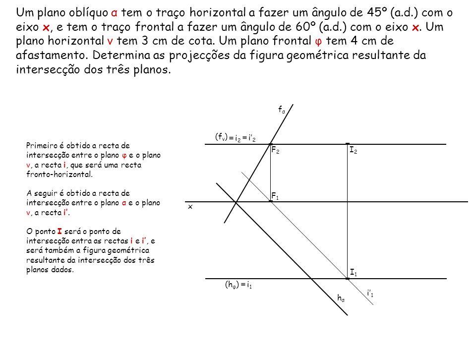 Um plano oblíquo α tem o traço horizontal a fazer um ângulo de 45º (a.d.) com o eixo x, e tem o traço frontal a fazer um ângulo de 60º (a.d.) com o ei