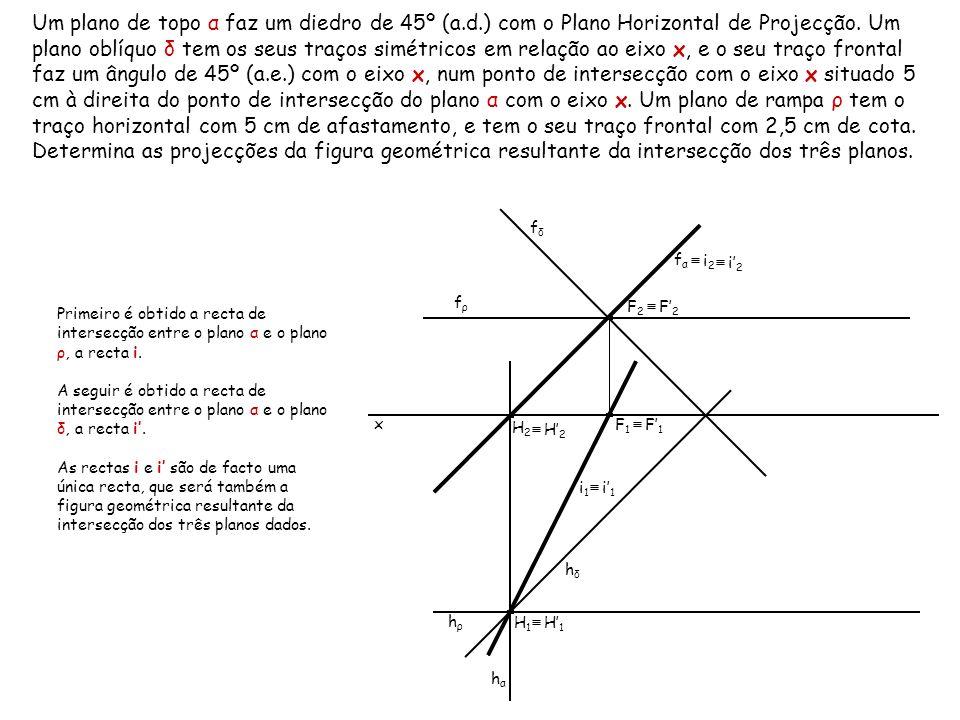 Um plano de topo α faz um diedro de 45º (a.d.) com o Plano Horizontal de Projecção. Um plano oblíquo δ tem os seus traços simétricos em relação ao eix