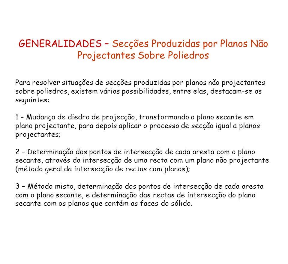 GENERALIDADES – Secções Produzidas por Planos Não Projectantes Sobre Poliedros Para resolver situações de secções produzidas por planos não projectant