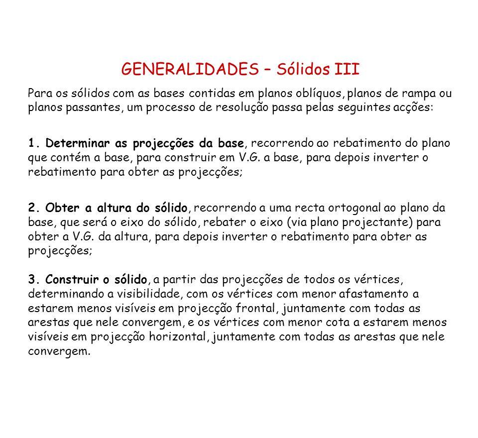 GENERALIDADES – Sólidos III Para os sólidos com as bases contidas em planos oblíquos, planos de rampa ou planos passantes, um processo de resolução pa