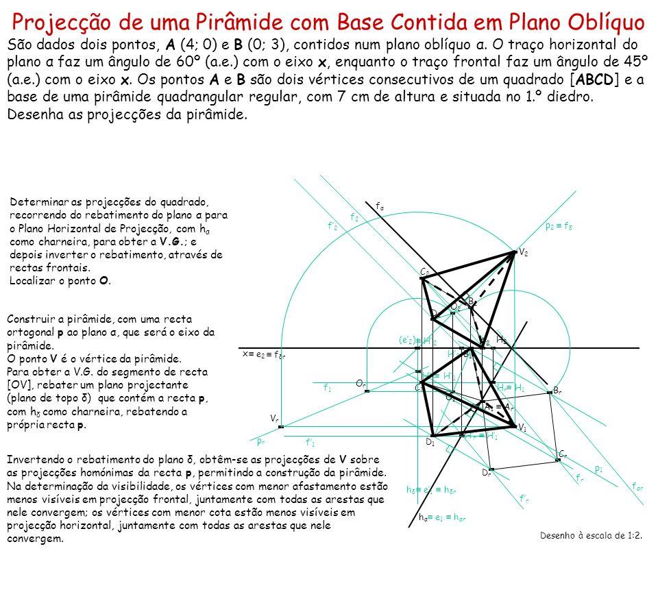 Projecção de uma Pirâmide com Base Contida em Plano Oblíquo São dados dois pontos, A (4; 0) e B (0; 3), contidos num plano oblíquo α. O traço horizont