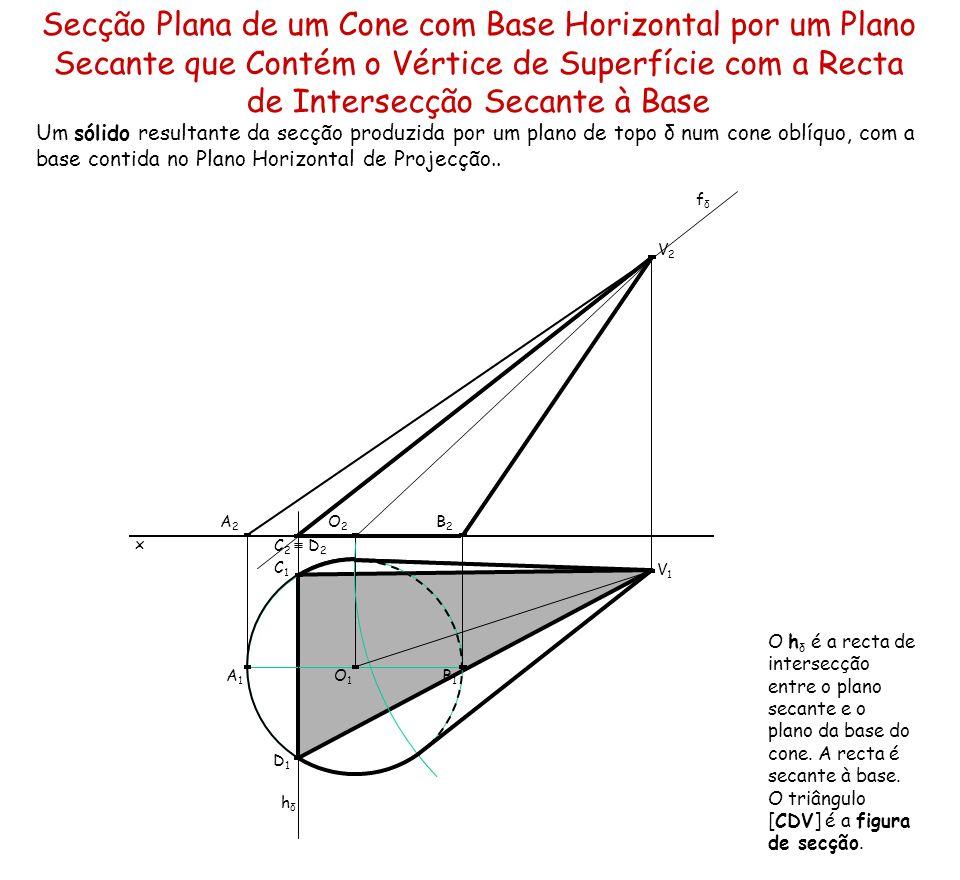 Secção Plana de um Cone com Base Horizontal por um Plano Secante que Contém o Vértice de Superfície com a Recta de Intersecção Secante à Base Um sólid
