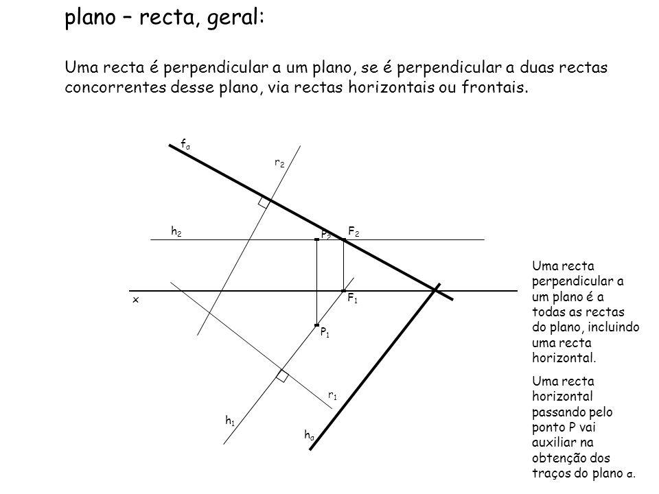 plano – recta, geral: Uma recta é perpendicular a um plano, se é perpendicular a duas rectas concorrentes desse plano, via rectas horizontais ou front