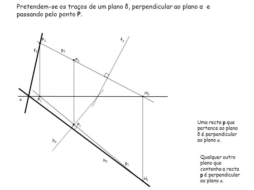 Pretendem-se os traços de um plano δ, perpendicular ao plano α e passando pelo ponto P. x fαfα p1p1 P1P1 P2P2 p2p2 Uma recta p que pertence ao plano δ