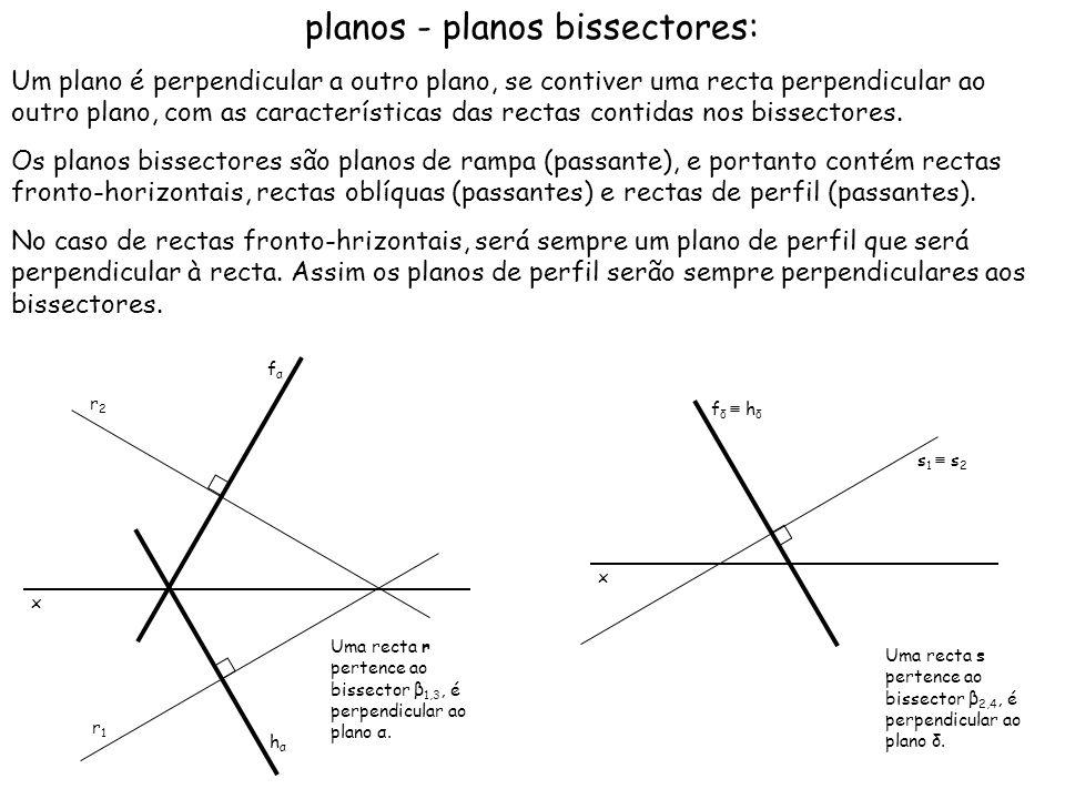 planos - planos bissectores: Um plano é perpendicular a outro plano, se contiver uma recta perpendicular ao outro plano, com as características das re