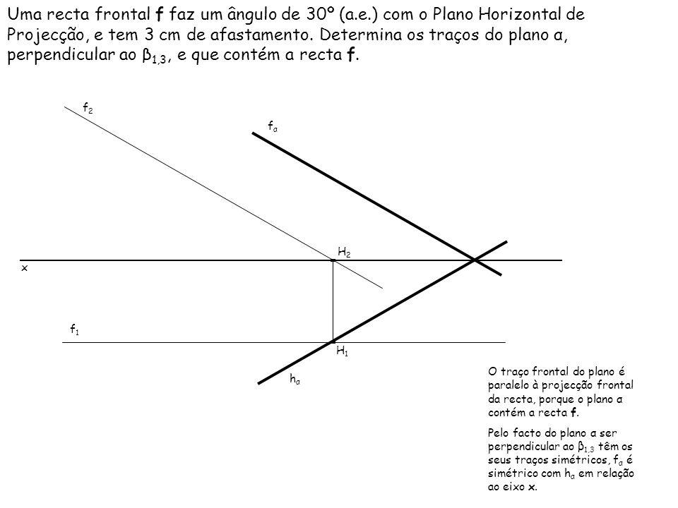 Uma recta frontal f faz um ângulo de 30º (a.e.) com o Plano Horizontal de Projecção, e tem 3 cm de afastamento. Determina os traços do plano α, perpen