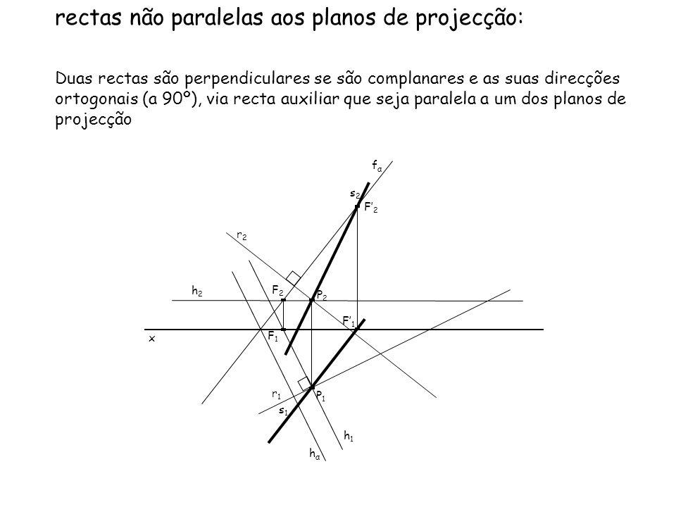 Pretendem-se as projecções de uma recta oblíqua s perpendicular à recta oblíqua r e passando pelo ponto P.