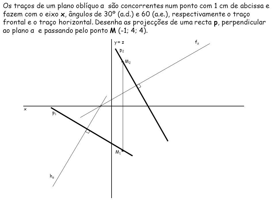 Os traços de um plano oblíquo α são concorrentes num ponto com 1 cm de abcissa e fazem com o eixo x, ângulos de 30º (a.d.) e 60 (a.e.), respectivament