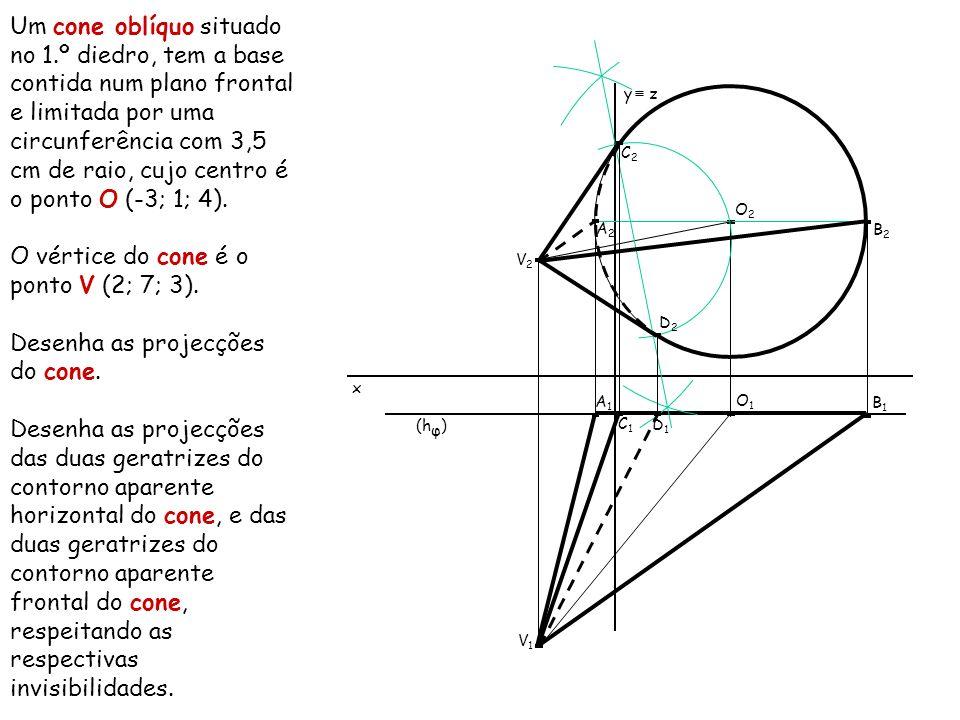 Um cone oblíquo situado no 1.º diedro, tem a base contida num plano frontal e limitada por uma circunferência com 3,5 cm de raio, cujo centro é o pont