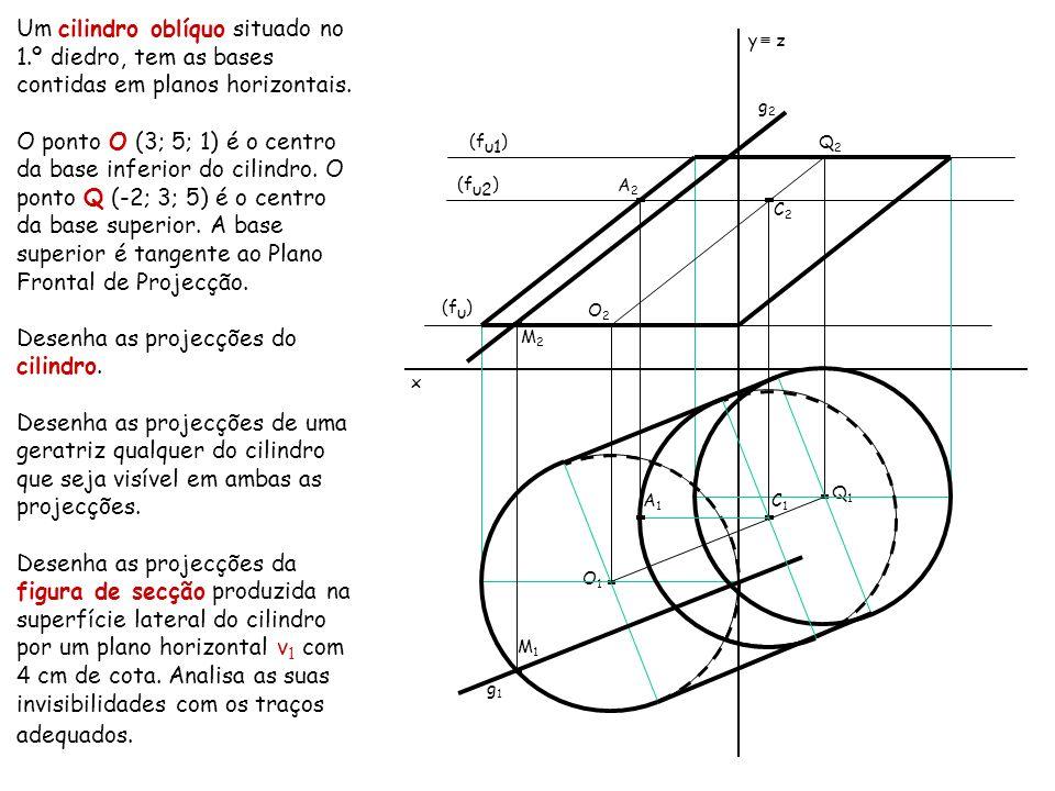 Um cilindro oblíquo situado no 1.º diedro, tem as bases contidas em planos horizontais. O ponto O (3; 5; 1) é o centro da base inferior do cilindro. O