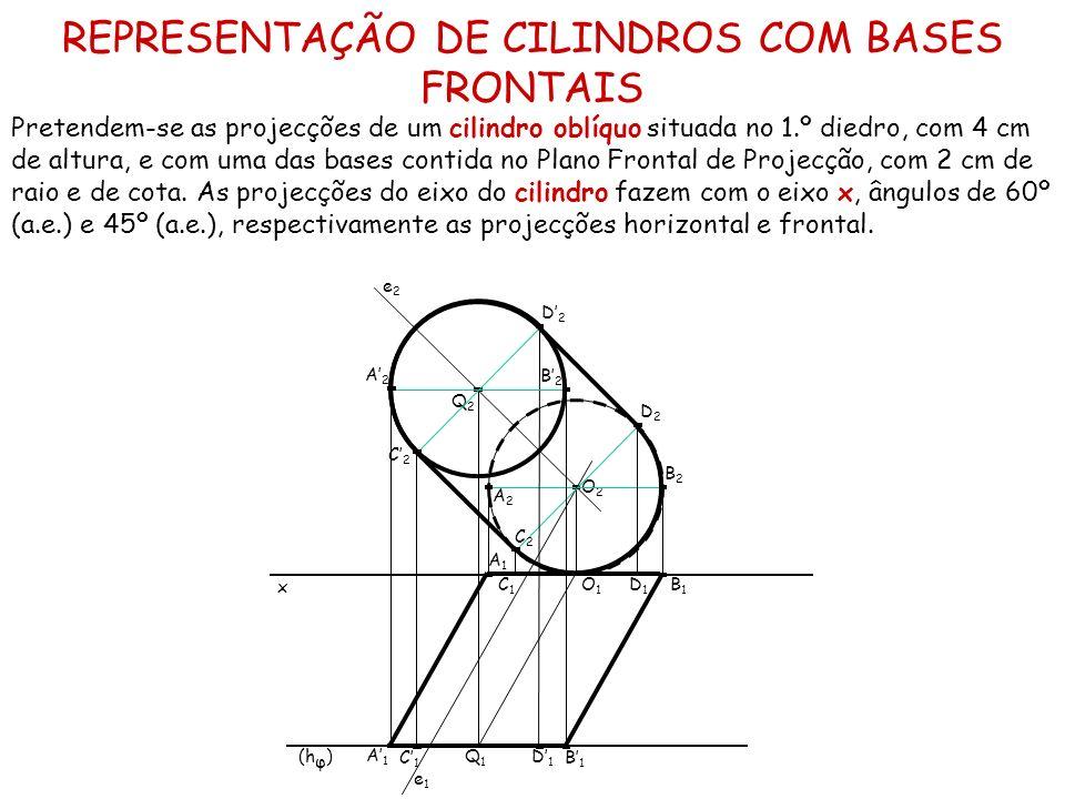 REPRESENTAÇÃO DE CILINDROS COM BASES FRONTAIS Pretendem-se as projecções de um cilindro oblíquo situada no 1.º diedro, com 4 cm de altura, e com uma d