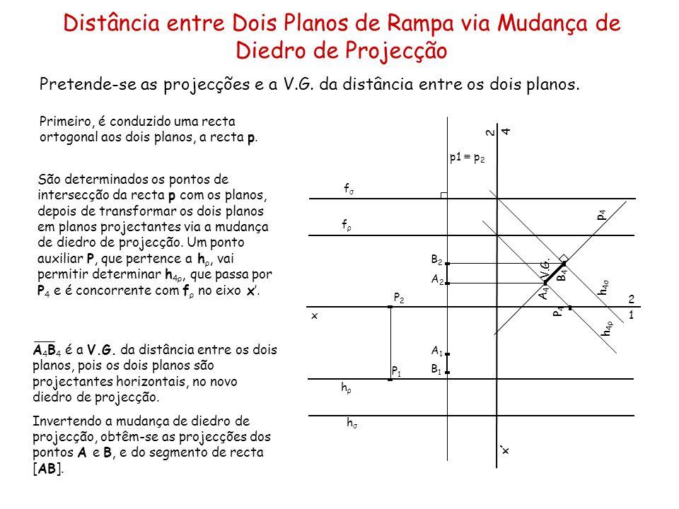 Distância entre Dois Planos de Rampa via Mudança de Diedro de Projecção Pretende-se as projecções e a V.G. da distância entre os dois planos. x hσhσ h