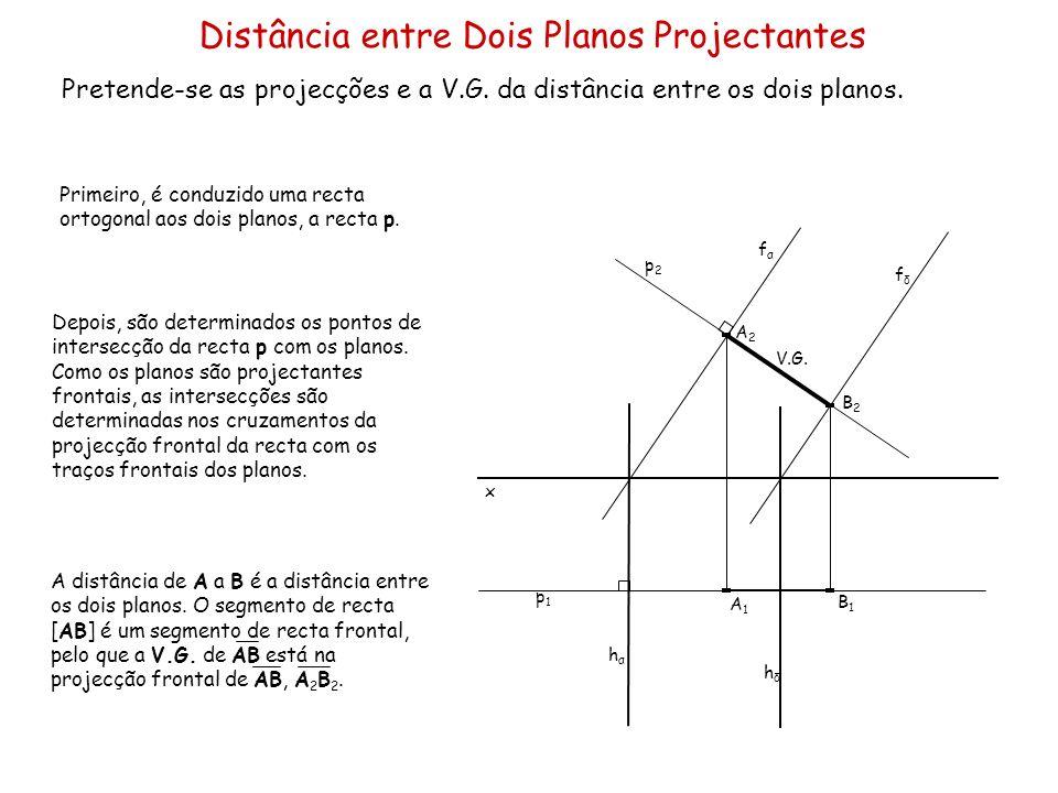 Distância entre Dois Planos Projectantes Pretende-se as projecções e a V.G. da distância entre os dois planos. x Primeiro, é conduzido uma recta ortog