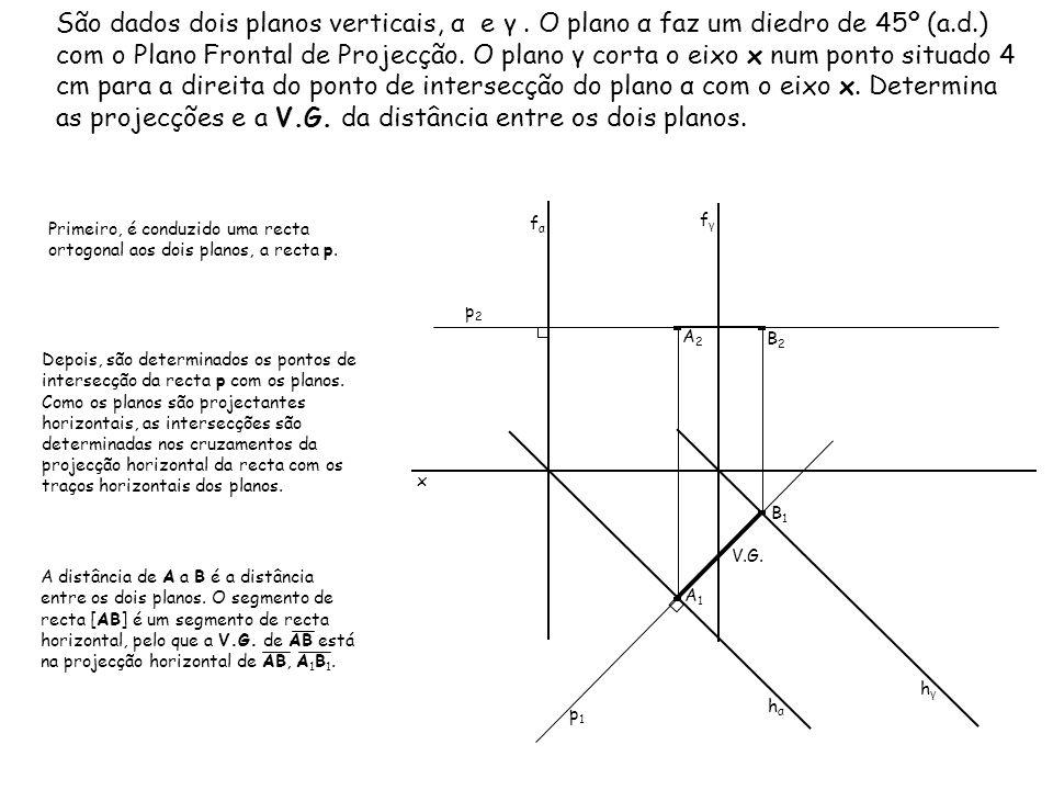 São dados dois planos verticais, α e γ. O plano α faz um diedro de 45º (a.d.) com o Plano Frontal de Projecção. O plano γ corta o eixo x num ponto sit