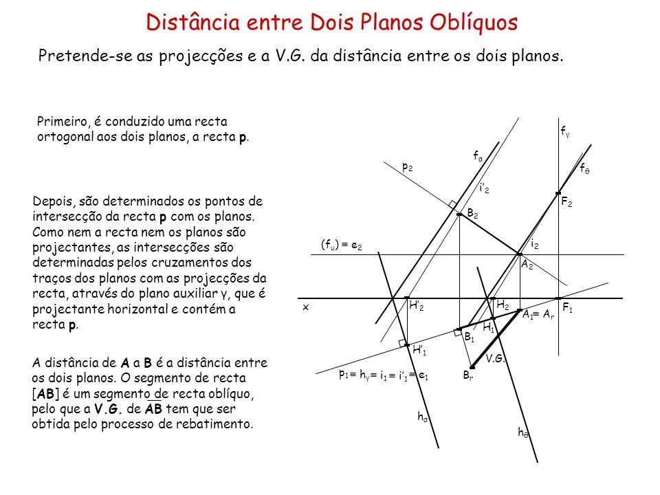 Distância entre Dois Planos Oblíquos Pretende-se as projecções e a V.G. da distância entre os dois planos. x Primeiro, é conduzido uma recta ortogonal