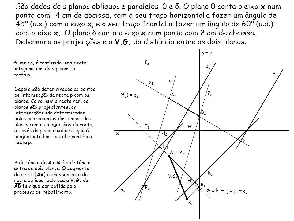 São dados dois planos oblíquos e paralelos, θ e δ. O plano θ corta o eixo x num ponto com -4 cm de abcissa, com o seu traço horizontal a fazer um ângu