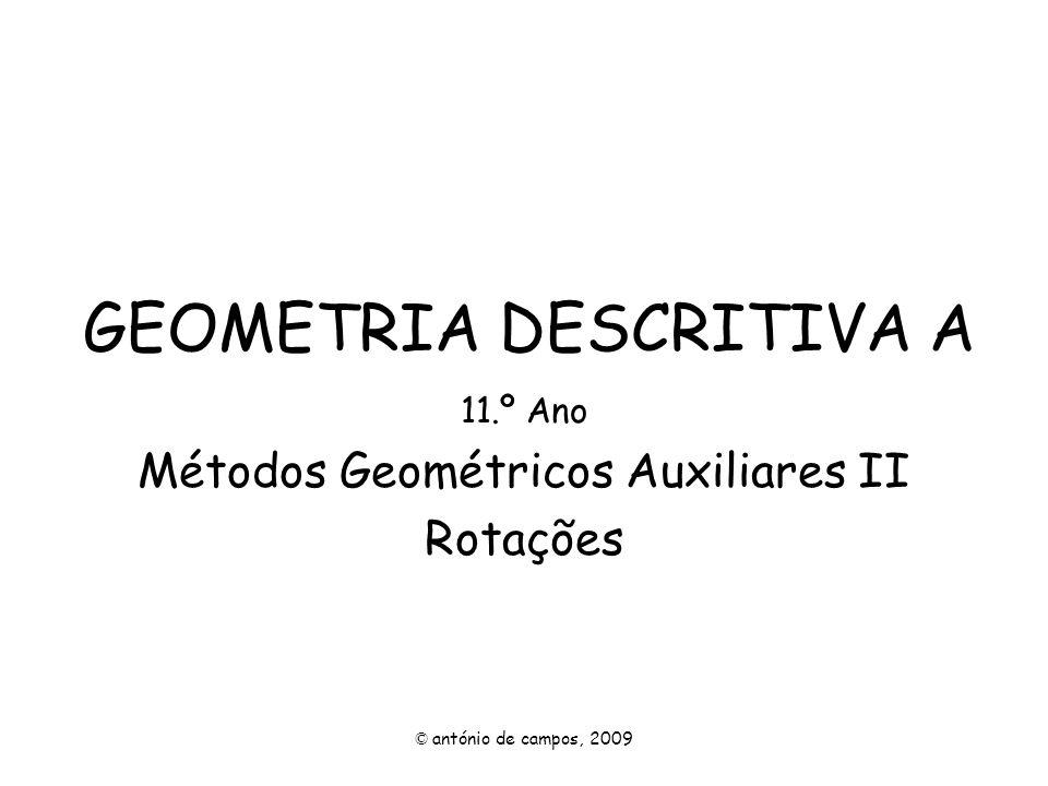 GEOMETRIA DESCRITIVA A 11.º Ano Métodos Geométricos Auxiliares II Rotações © antónio de campos, 2009