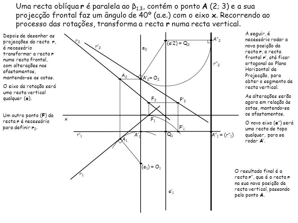 Uma recta oblíqua r é paralela ao β 1,3, contém o ponto A (2; 3) e a sua projecção frontal faz um ângulo de 40º (a.e.) com o eixo x. Recorrendo ao pro