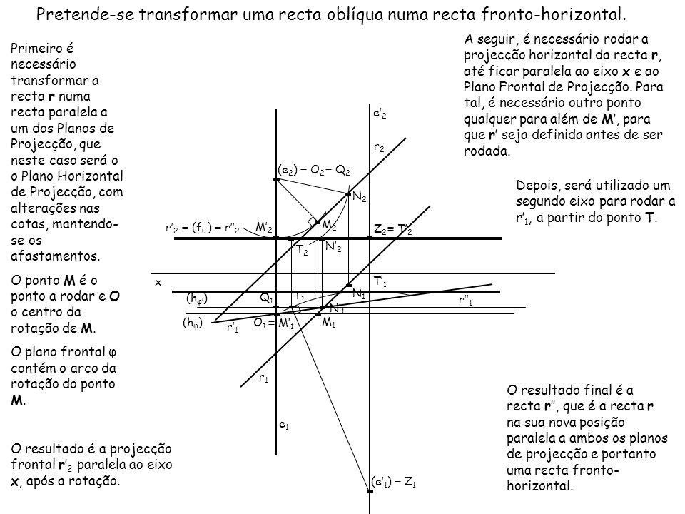 x Primeiro é necessário transformar a recta r numa recta paralela a um dos Planos de Projecção, que neste caso será o o Plano Horizontal de Projecção,