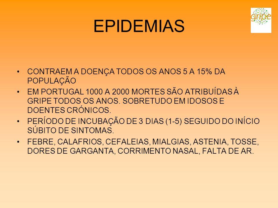 EPIDEMIAS CONTRAEM A DOENÇA TODOS OS ANOS 5 A 15% DA POPULAÇÃO EM PORTUGAL 1000 A 2000 MORTES SÃO ATRIBUÍDAS À GRIPE TODOS OS ANOS. SOBRETUDO EM IDOSO
