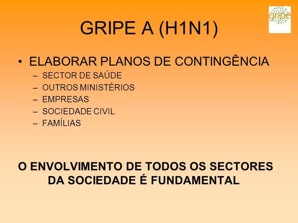 GRIPE A (H1N1) ELABORAR PLANOS DE CONTINGÊNCIA –SECTOR DE SAÚDE –OUTROS MINISTÉRIOS –EMPRESAS –SOCIEDADE CIVIL –FAMÍLIAS O ENVOLVIMENTO DE TODOS OS SE