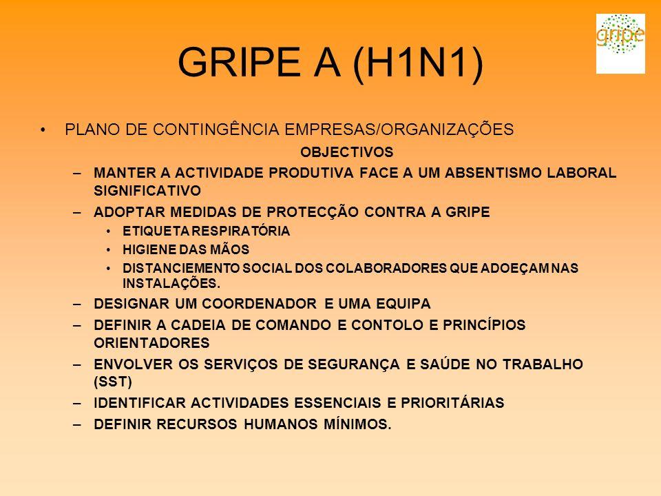 GRIPE A (H1N1) PLANO DE CONTINGÊNCIA EMPRESAS/ORGANIZAÇÕES OBJECTIVOS –MANTER A ACTIVIDADE PRODUTIVA FACE A UM ABSENTISMO LABORAL SIGNIFICATIVO –ADOPT