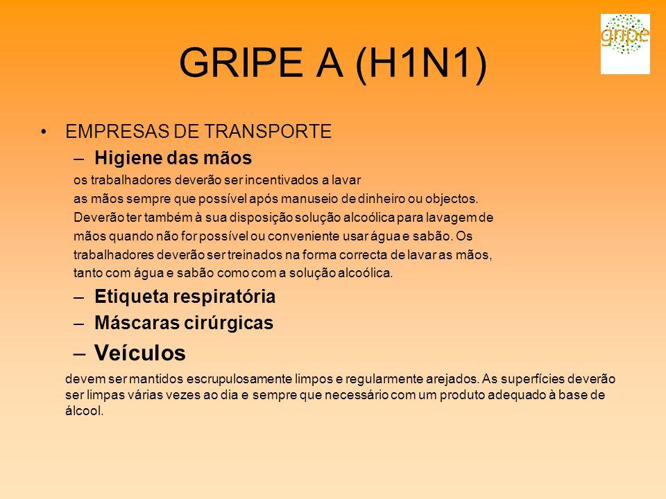 GRIPE A (H1N1) EMPRESAS DE TRANSPORTE –Higiene das mãos os trabalhadores deverão ser incentivados a lavar as mãos sempre que possível após manuseio de