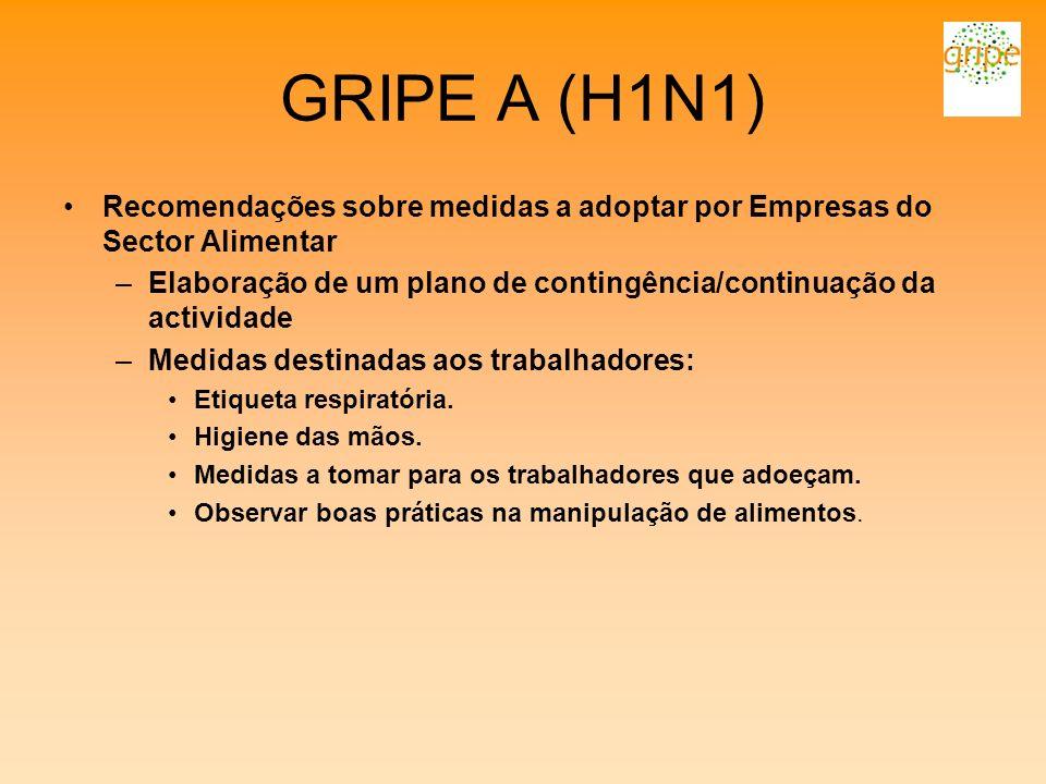GRIPE A (H1N1) Recomendações sobre medidas a adoptar por Empresas do Sector Alimentar –Elaboração de um plano de contingência/continuação da actividad