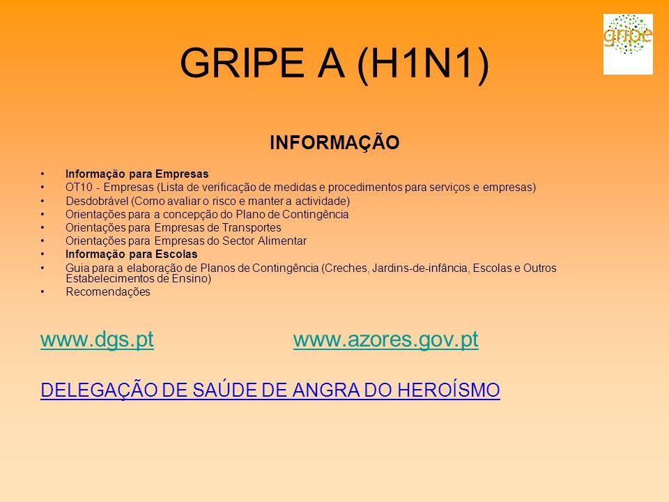 GRIPE A (H1N1) INFORMAÇÃO Informação para Empresas OT10 - Empresas (Lista de verificação de medidas e procedimentos para serviços e empresas) Desdobrá