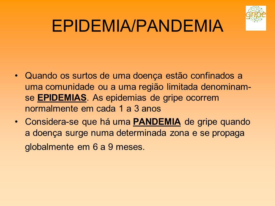 EPIDEMIA/PANDEMIA Quando os surtos de uma doença estão confinados a uma comunidade ou a uma região limitada denominam- se EPIDEMIAS. As epidemias de g