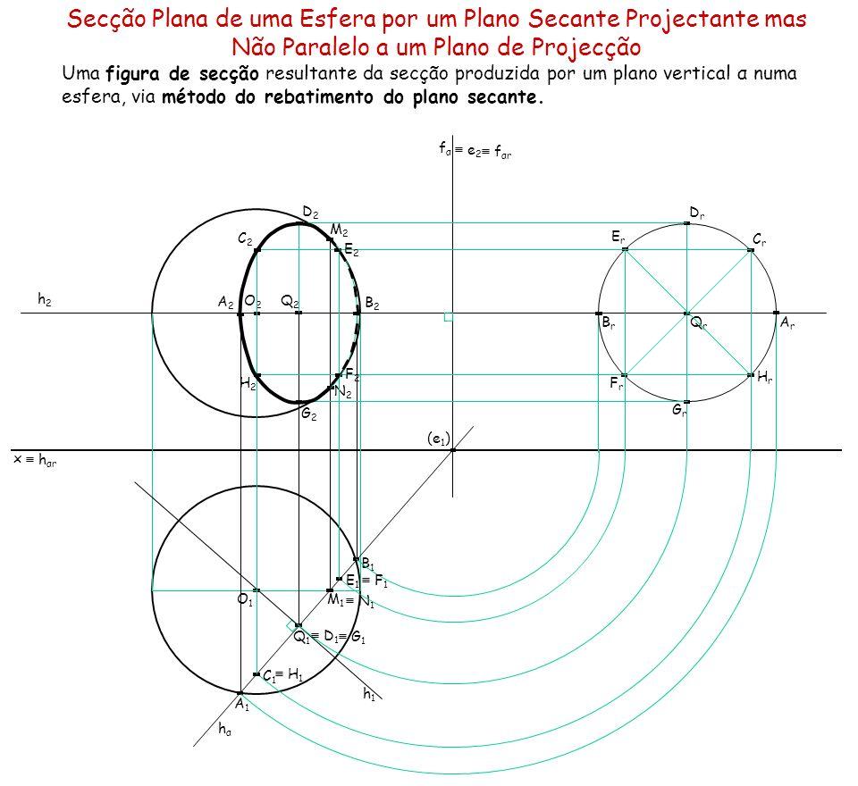 É dada uma esfera, situada no 1.º diedro, com 3,5 cm de raio, e tangente aos dois planos de projecção.