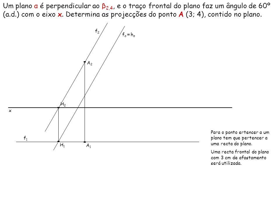 Um plano α é perpendicular ao β 2,4, e o traço frontal do plano faz um ângulo de 60º (a.d.) com o eixo x. Determina as projecções do ponto A (3; 4), c