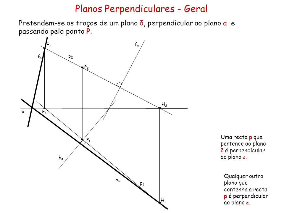 Planos Perpendiculares - Geral Pretendem-se os traços de um plano δ, perpendicular ao plano α e passando pelo ponto P. x fαfα p1p1 P1P1 P2P2 p2p2 Uma
