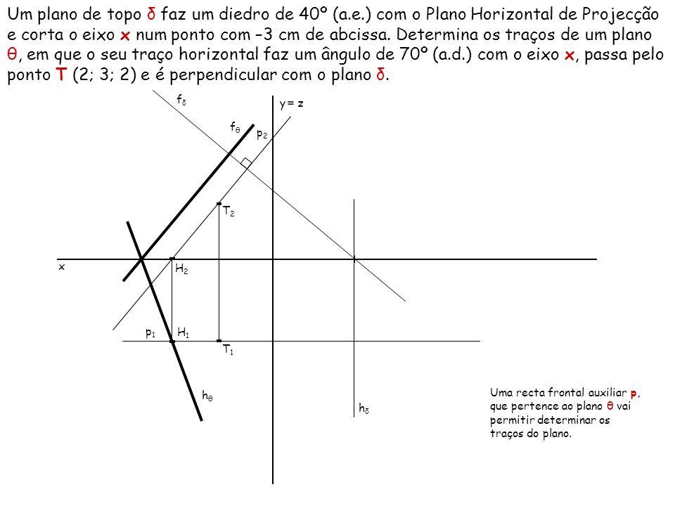 Um plano de topo δ faz um diedro de 40º (a.e.) com o Plano Horizontal de Projecção e corta o eixo x num ponto com –3 cm de abcissa. Determina os traço