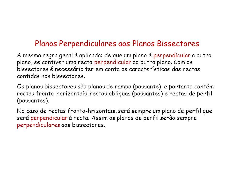 Planos Perpendiculares aos Planos Bissectores A mesma regra geral é aplicada: de que um plano é perpendicular a outro plano, se contiver uma recta per