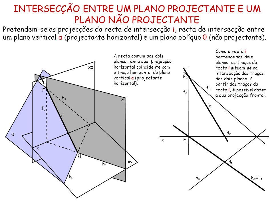 INTERSECÇÃO ENTRE UM PLANO PROJECTANTE E UM PLANO NÃO PROJECTANTE Pretendem-se as projecções da recta de intersecção i, recta de intersecção entre um