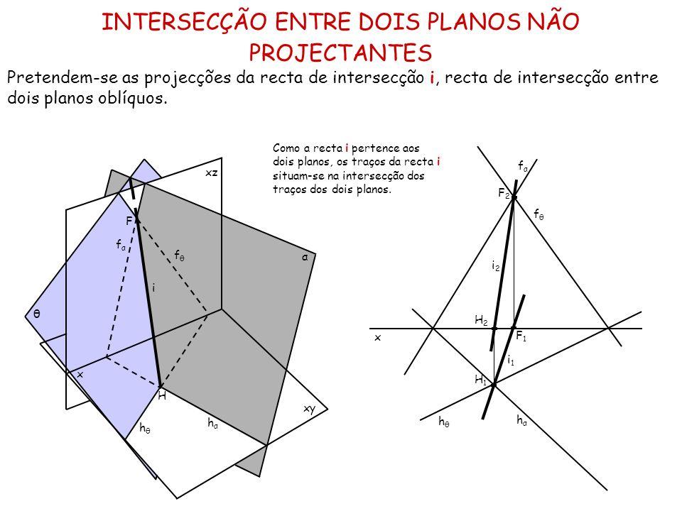 INTERSECÇÃO ENTRE DOIS PLANOS NÃO PROJECTANTES Pretendem-se as projecções da recta de intersecção i, recta de intersecção entre dois planos oblíquos.