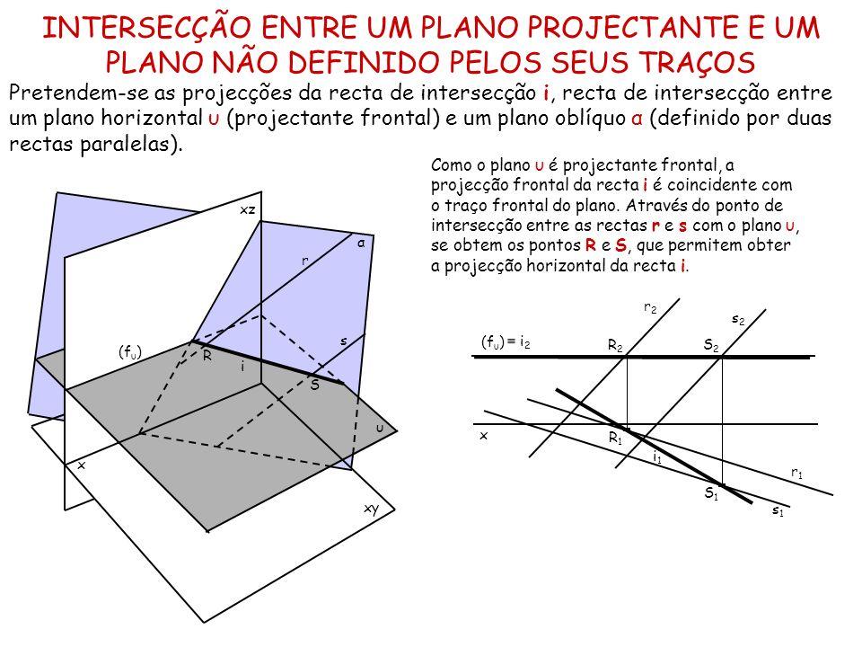 INTERSECÇÃO ENTRE UM PLANO PROJECTANTE E UM PLANO NÃO DEFINIDO PELOS SEUS TRAÇOS Pretendem-se as projecções da recta de intersecção i, recta de inters