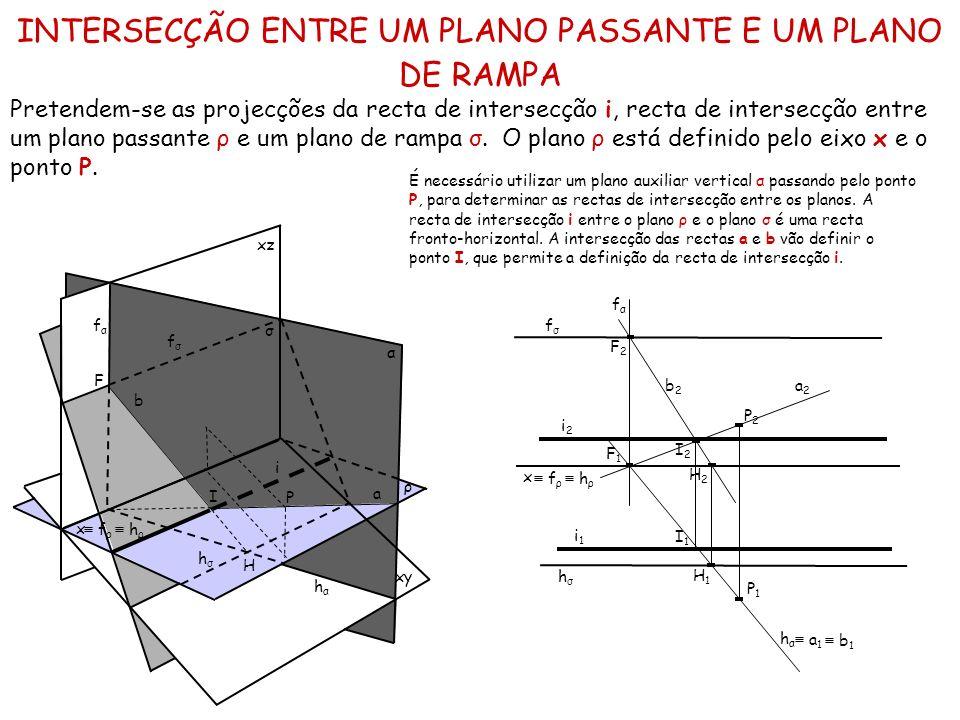 INTERSECÇÃO ENTRE UM PLANO PASSANTE E UM PLANO DE RAMPA Pretendem-se as projecções da recta de intersecção i, recta de intersecção entre um plano pass