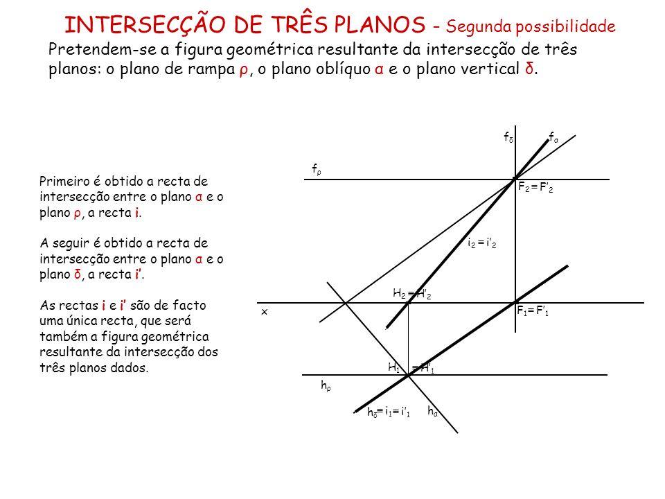 INTERSECÇÃO DE TRÊS PLANOS – Segunda possibilidade Pretendem-se a figura geométrica resultante da intersecção de três planos: o plano de rampa ρ, o pl
