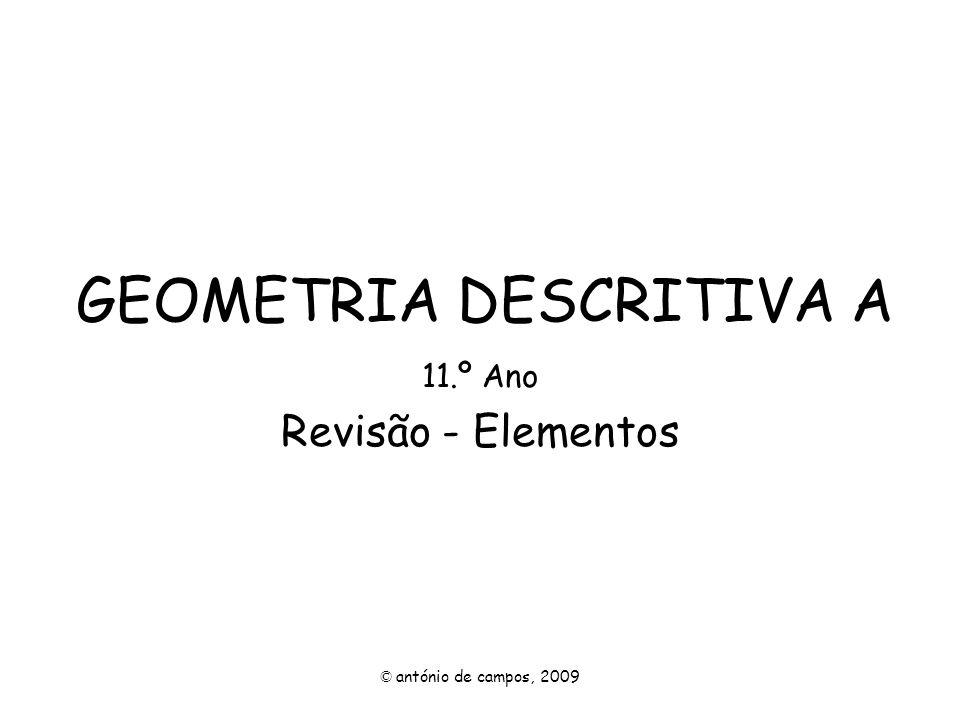GEOMETRIA DESCRITIVA A 11.º Ano Revisão - Elementos © antónio de campos, 2009