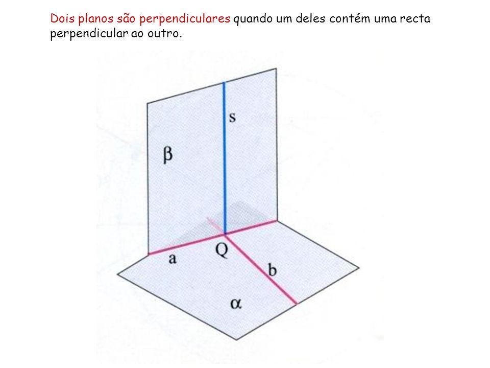 Dois planos são perpendiculares quando um deles contém uma recta perpendicular ao outro.