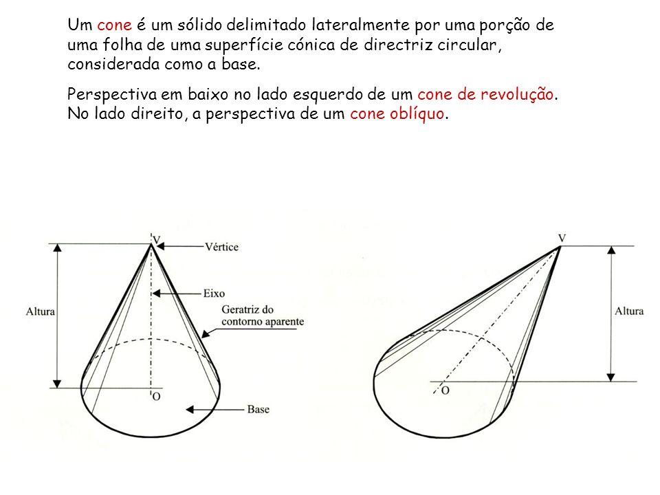 Um cone é um sólido delimitado lateralmente por uma porção de uma folha de uma superfície cónica de directriz circular, considerada como a base. Persp