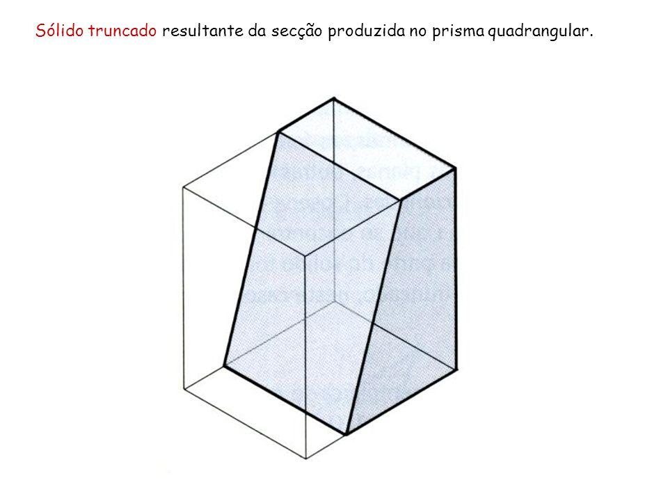 Sólido truncado resultante da secção produzida no prisma quadrangular.