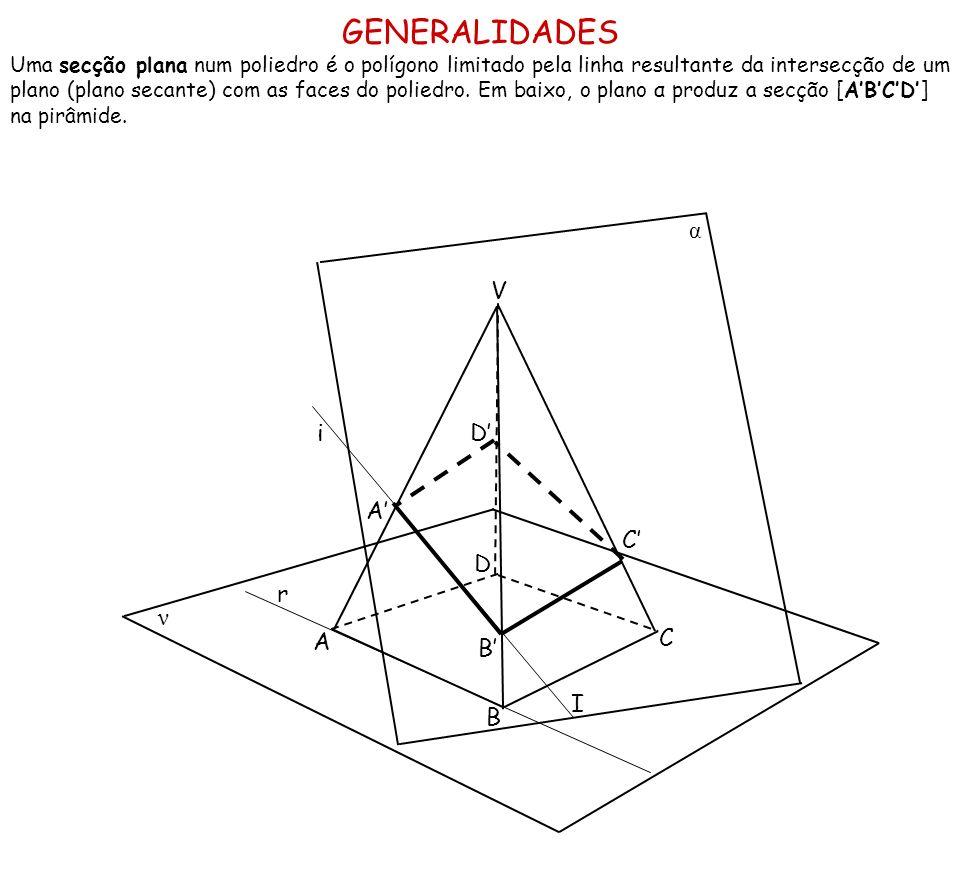 GENERALIDADES Uma secção plana num poliedro é o polígono limitado pela linha resultante da intersecção de um plano (plano secante) com as faces do pol