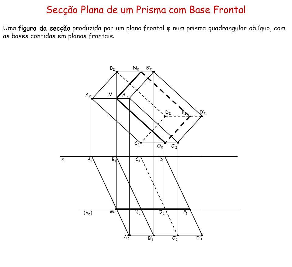 Secção Plana de um Prisma com Base Frontal Uma figura da secção produzida por um plano frontal φ num prisma quadrangular oblíquo, com as bases contida